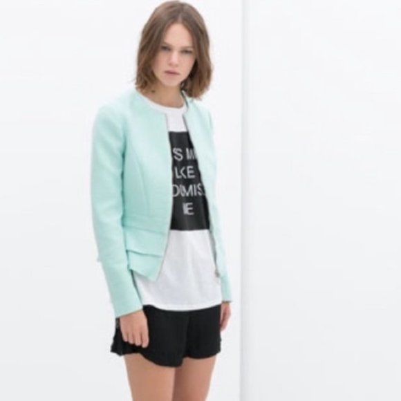 Zara | Mint peplum zip jacket